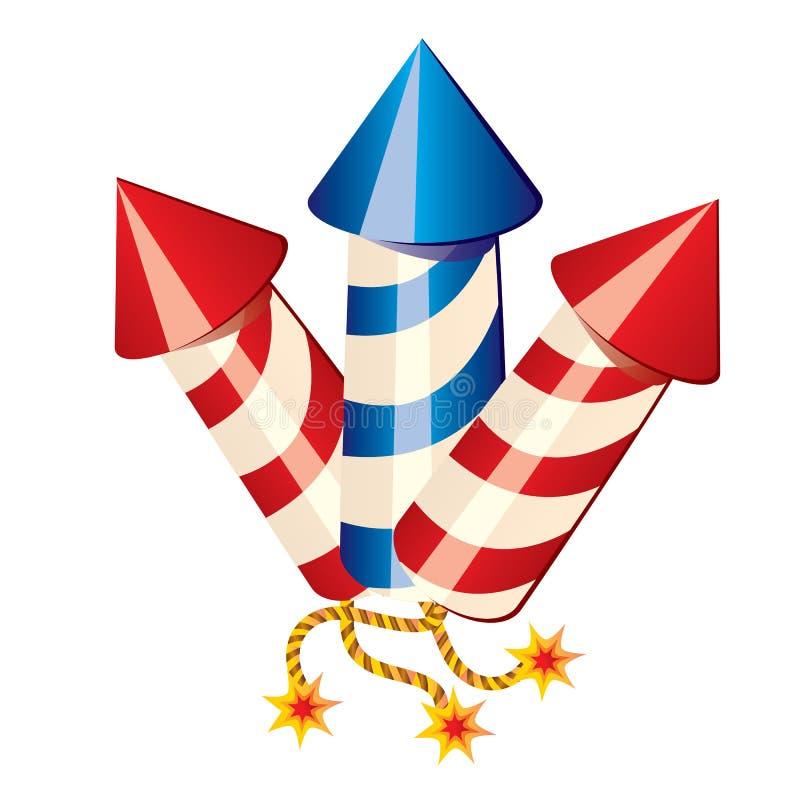 Cohetes de los fuegos artificiales de la historieta ilustración del vector