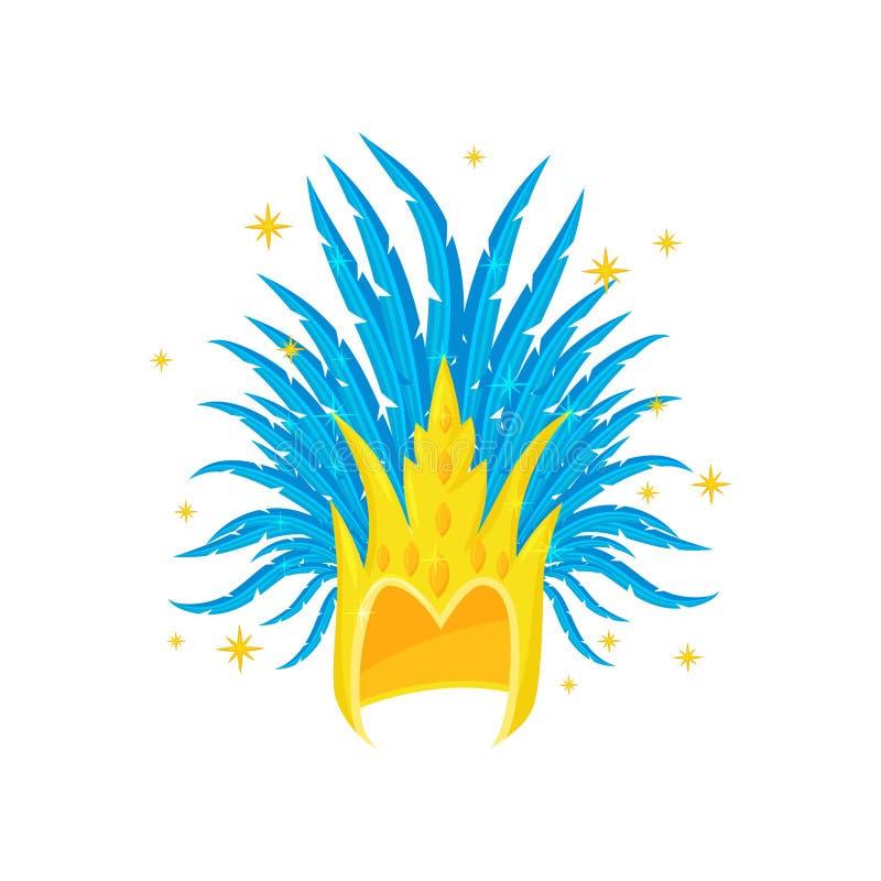 Coiffe d'or avec les plumes bleues Élément de costume de fête Accessoire de danseur de samba de Brailian Icône plate de vecteur illustration libre de droits