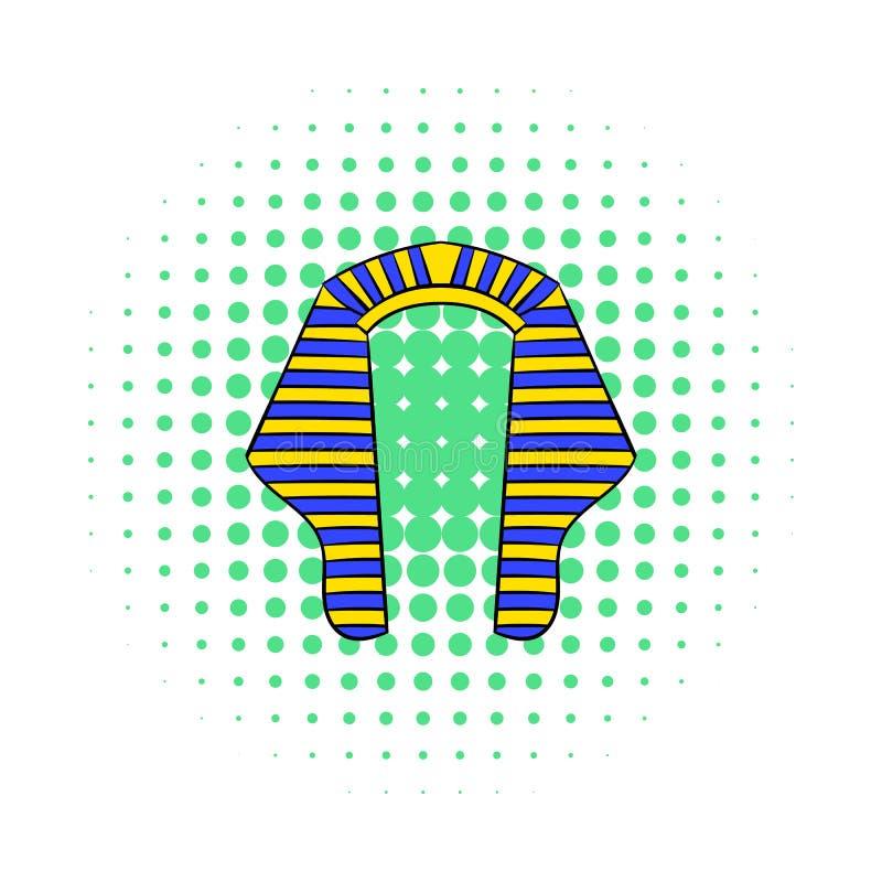 Coiffe d'icône de pharaon, style de bandes dessinées illustration de vecteur