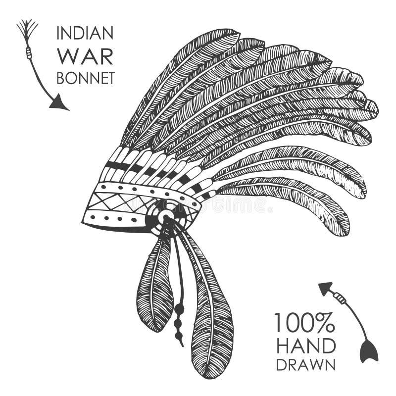 Coiffe en chef indienne indigène tirée par la main avec des plumes Type de croquis illustration stock