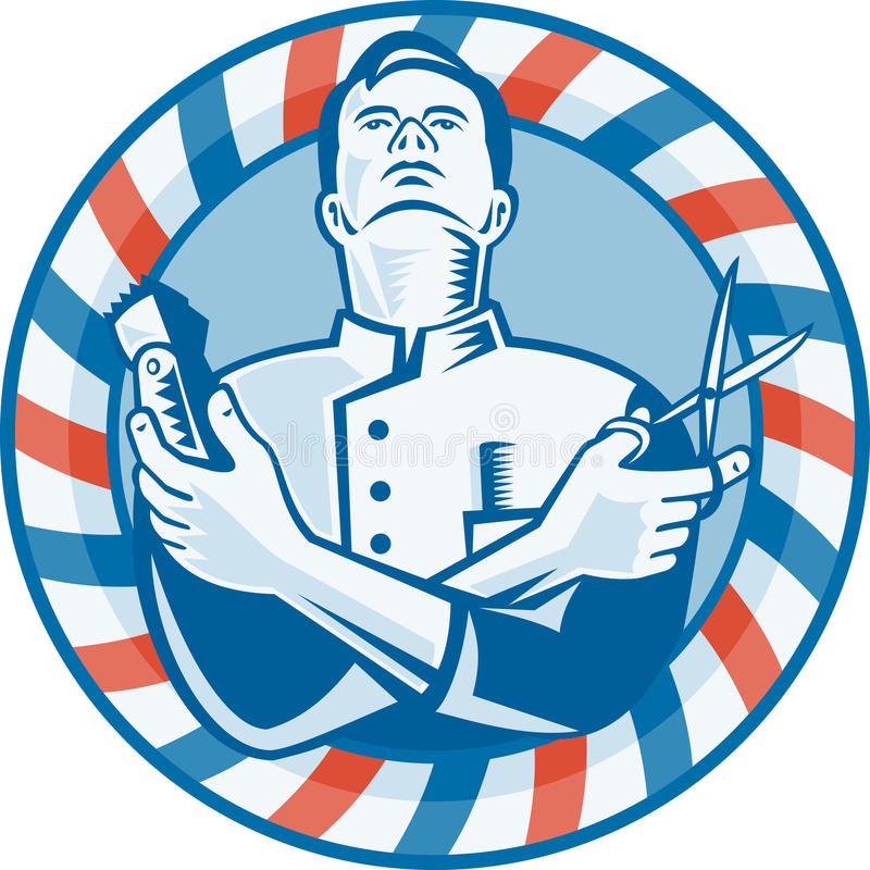 Coiffeur avec le coupeur et les ciseaux de cheveu de tondeuse illustration de vecteur