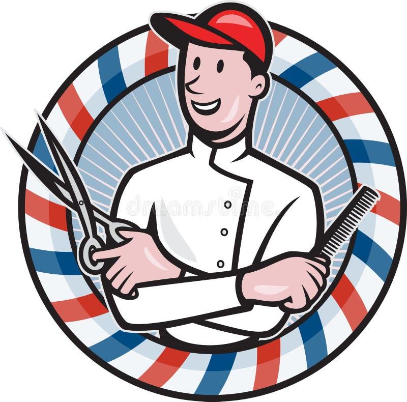 Coiffeur avec les ciseaux et la bande dessinée de peigne illustration de vecteur