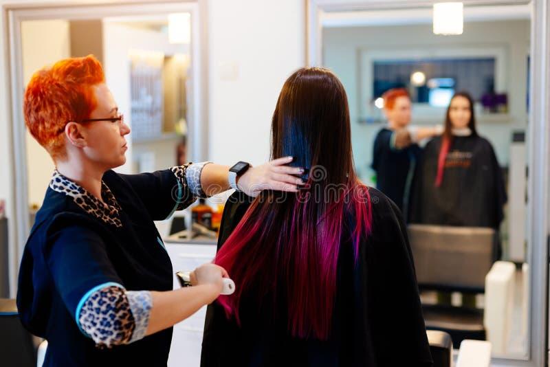 Coiffeur féminin balayant des cheveux de jeune client photographie stock
