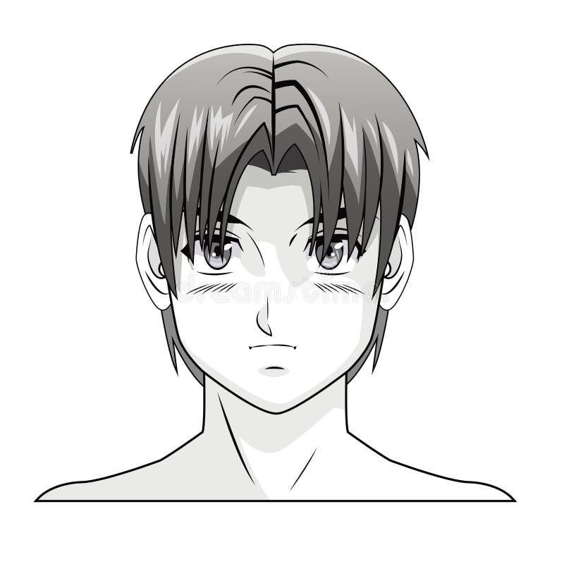 Coiffure comique de manga d'anime de garçon de visage illustration stock