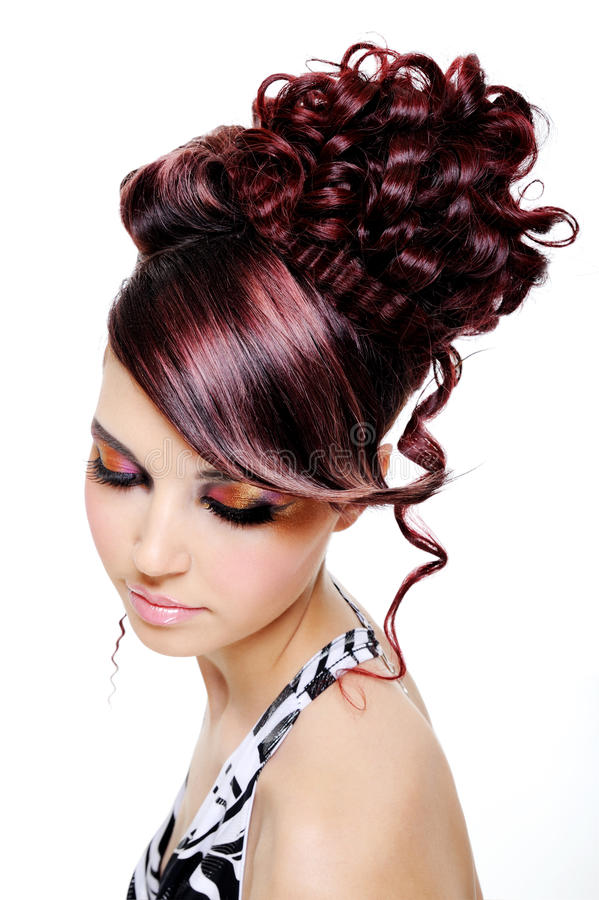coiffure créatrice multicolore photographie stock