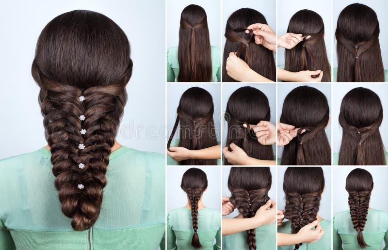 Coiffure de fête pour le long cours de cheveux photos stock