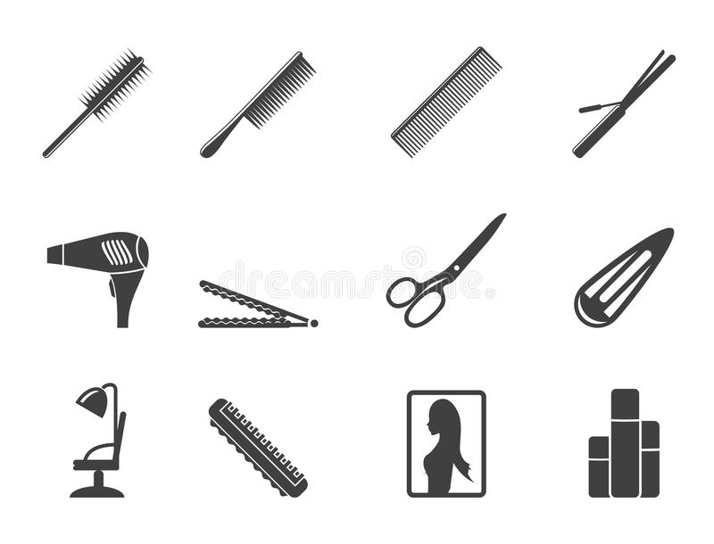 Coiffure de silhouette, coiffure et icônes de maquillage illustration libre de droits