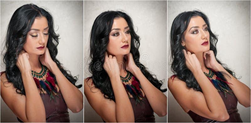 Coiffure et maquillage - portrait femelle magnifique d'art avec de beaux yeux élégance Brune naturelle véritable dans le studio images libres de droits