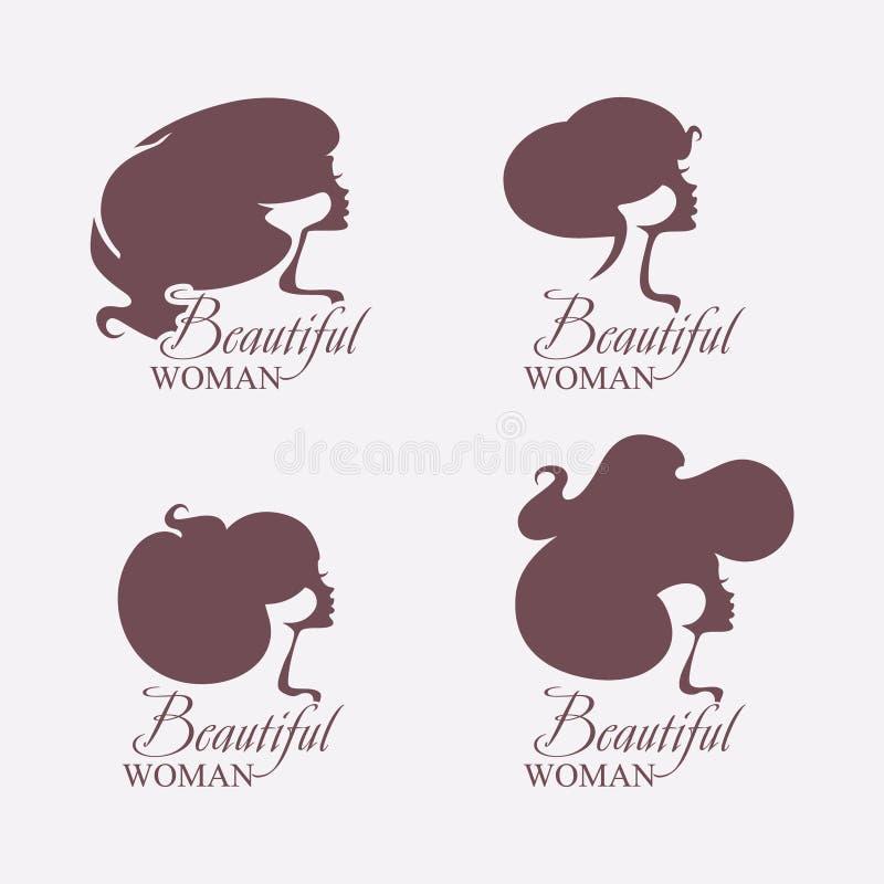 coiffure Placez de quatre silhouettes des têtes femelles de vecteur illustration libre de droits