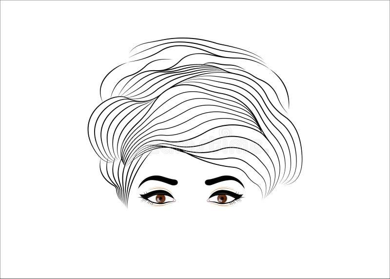 Coiffure salon logo, Vintage Fashion Woman hairstyle concept Stijlvol ontwerp voor Beauty Salon Flyer of Banner Vector portret gi vector illustratie