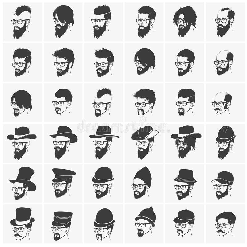 Coiffures avec un port de barbe et de moustache illustration stock