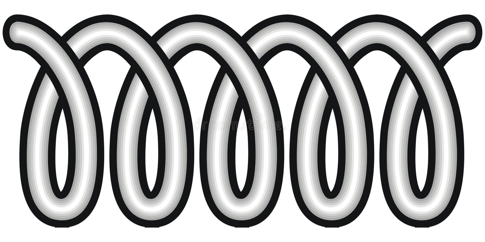 Coil. Art illustration in black and white: a coil stock illustration