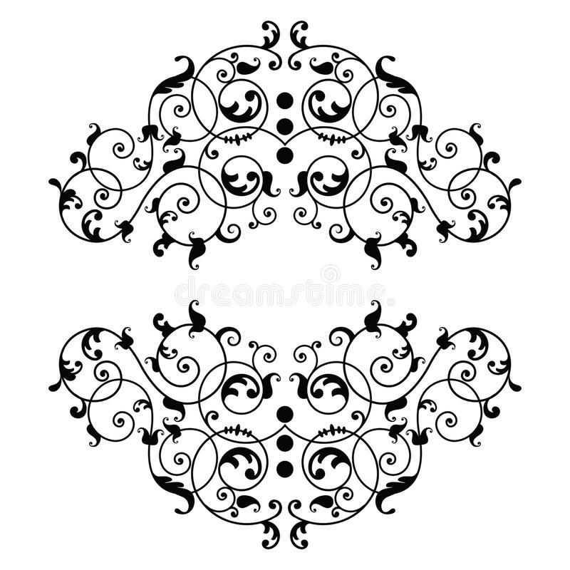 Coil cartouche banner. Retro Coil cartouche banner with filigree and copyspace in center vector illustration