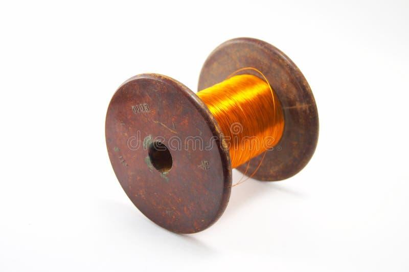 The coil of a copper wire stock photo