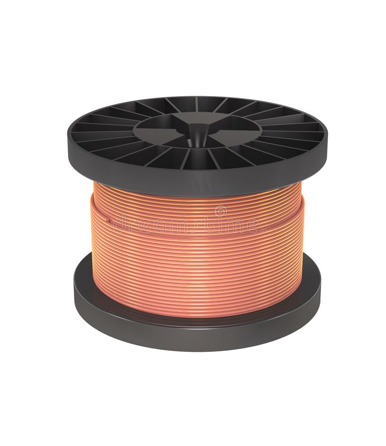 Coil with copper wire for industry 3d illustration. Coil with copper wire for industry on white background 3d illustration royalty free illustration