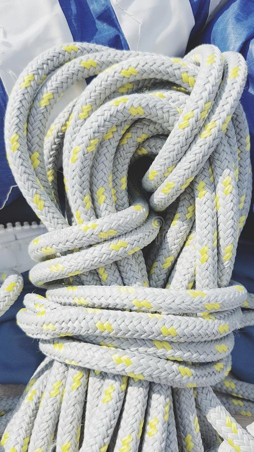 Coil of nylon rope stock image