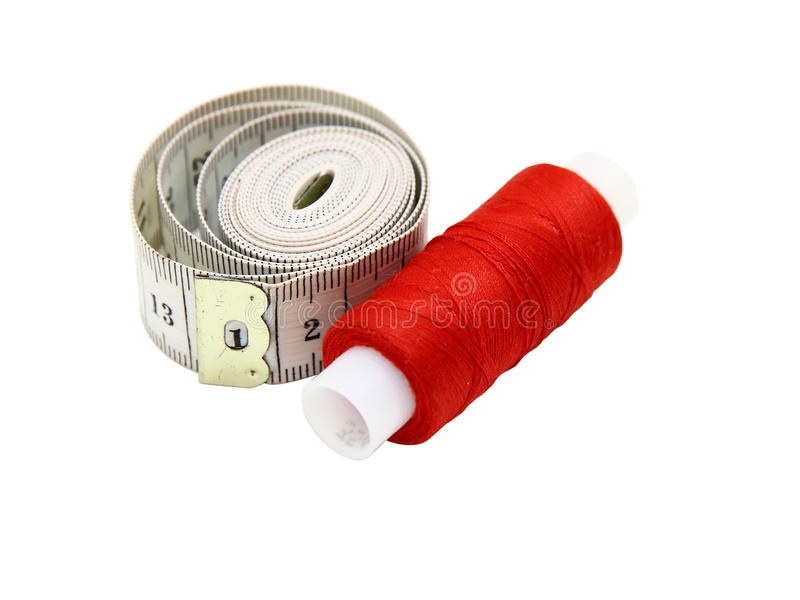 Download The Coil Of A Red Thread With Centimeter Stock Photos - Image: 17450343