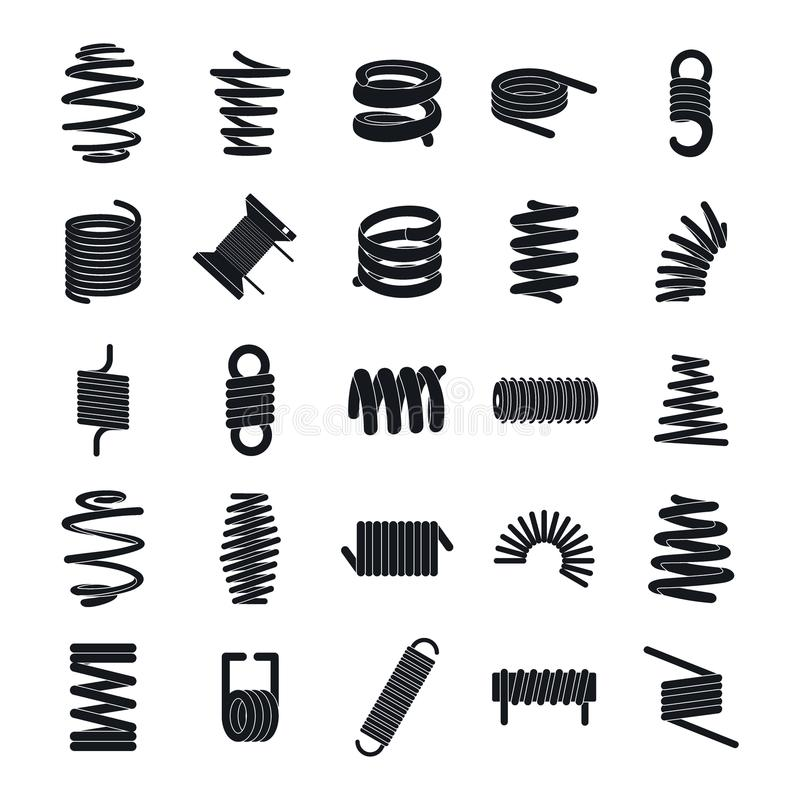 Coil spring cable icons set, simple style. Coil spring cable icons set. Simple illustration of 25 coil spring cable vector icons for web stock illustration