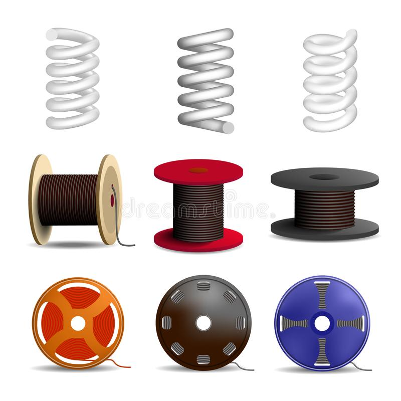 Coil spring icon set, realistic style. Coil spring icon set. Realistic set of coil spring vector icons for web design isolated on white background stock illustration