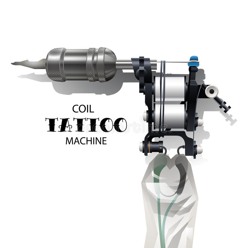 Coil tattoo machine. Realistic vector coil tattoo machine isolated on white background stock illustration