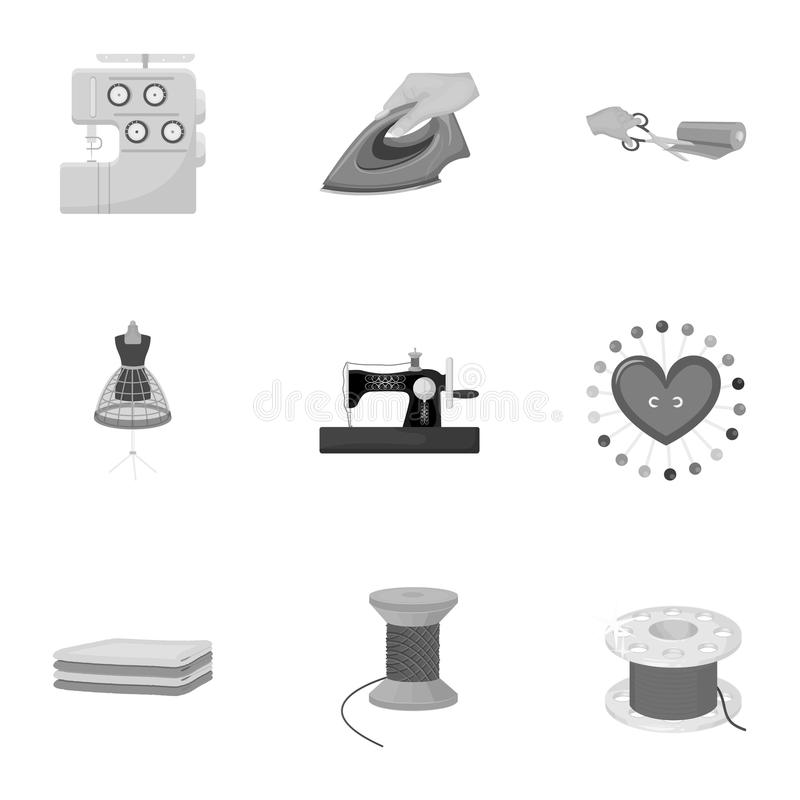 Sewing related icon set. Coil with thread, sewing machine, fabric and other equipment. Sewing and equipment set collection icons in monochrome style vector stock illustration