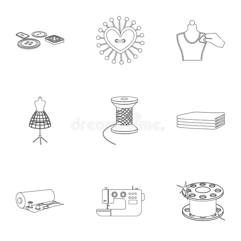Sewing related icon set. Coil with thread, sewing machine, fabric and other equipment. Sewing and equipment set collection icons in outline style vector symbol vector illustration