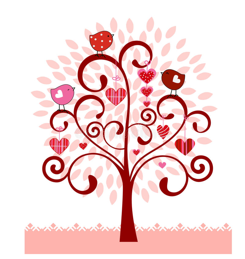 Coil Tree with leaves birds hearts. Fun Coil tree with leaves, pattern hearts and birdies and tulip field below stock illustration