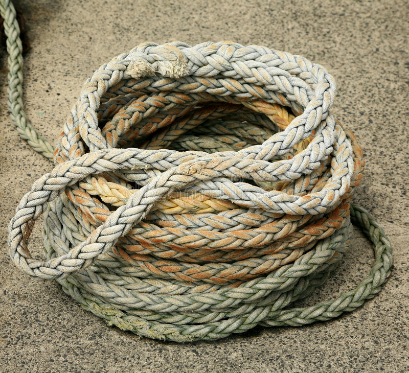Coiled rope. From a Japanese fishing boat stock image