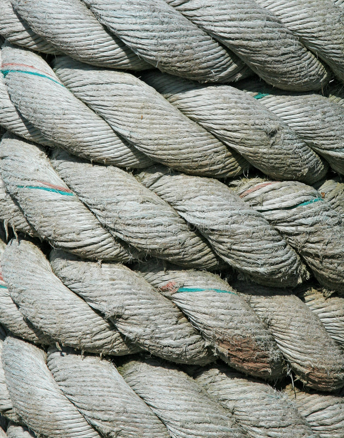 Coiled rope detail. From a Japanese fishing boat royalty free stock photo