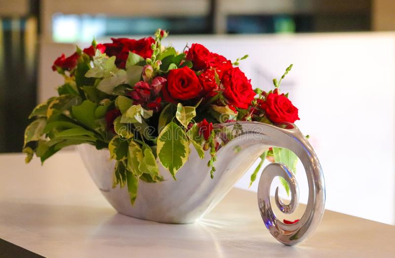 Coiled Silver Deco Flower Dish royalty free stock photography