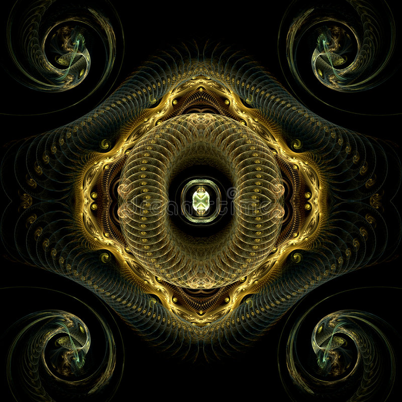 Coils and spirals. Abstract fractal image resembling various types of coils and spirals vector illustration
