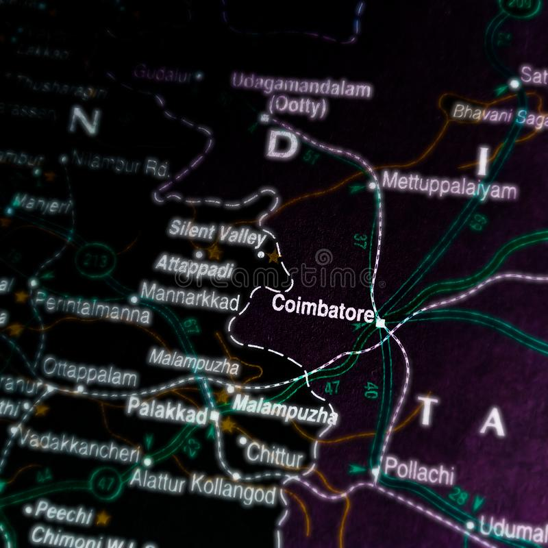 Coimbatore city in India south religion displaying on black background stock photos