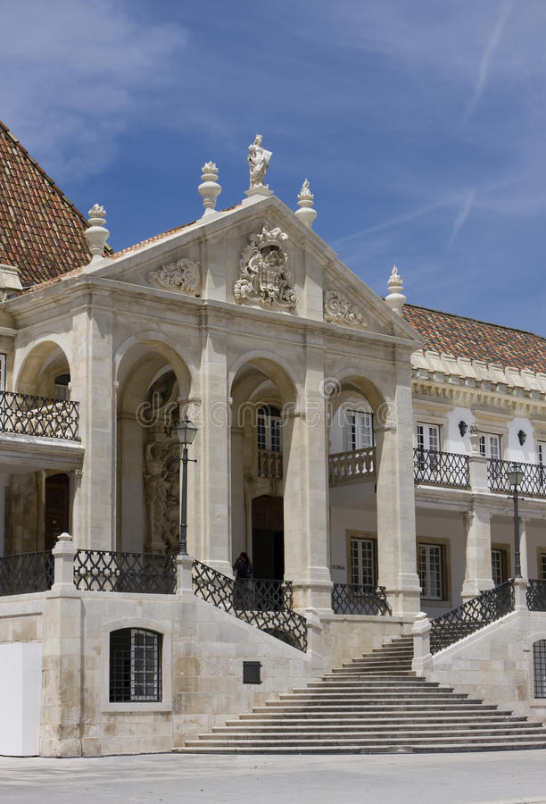 Coimbra. Facade of the main bulding of the Coimbra University - Portugal (it was founded on 1290 and it is one of the oldest university of the world royalty free stock images