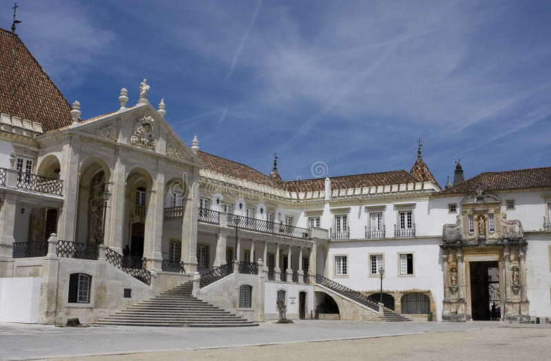 Coimbra. Facade of the main bulding of the Coimbra University - Portugal (it was founded on 1290 and it is one of the oldest university of the world stock image