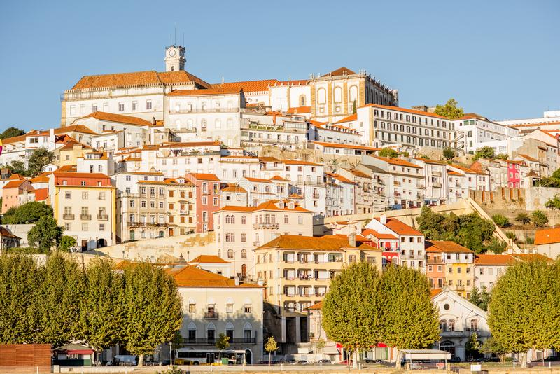 Coimbra city in Portugal. Cityscape view on the hill of the old town of Coimbra city in the central Portugal stock photography