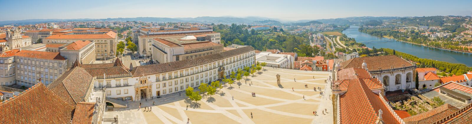 Coimbra University Panorama. Coimbra panorama from top of bell clock tower. Coimbra city skyline and University courtyard on Mondego river. Coimbra in Central stock photos