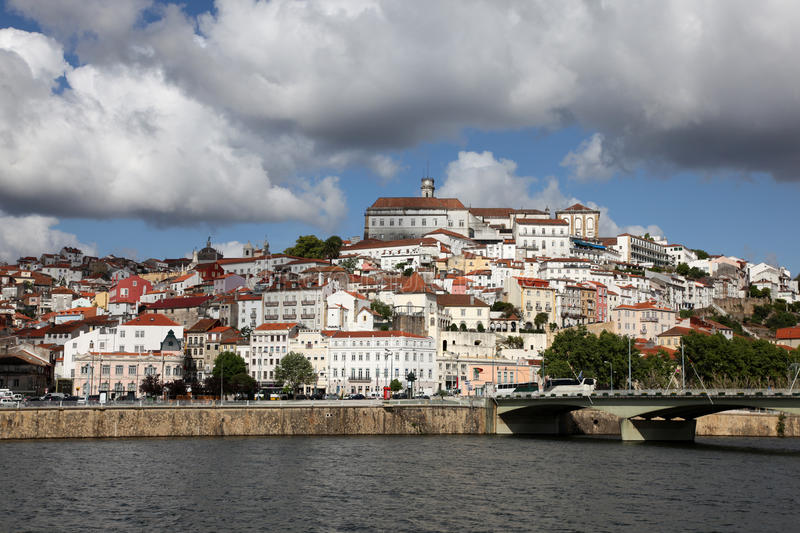 Coimbra Portugal. Coimbra cityscape across the Mondego river. Coimbra is an historic university city in Portugal. The University was founded in 1290 and is one stock images
