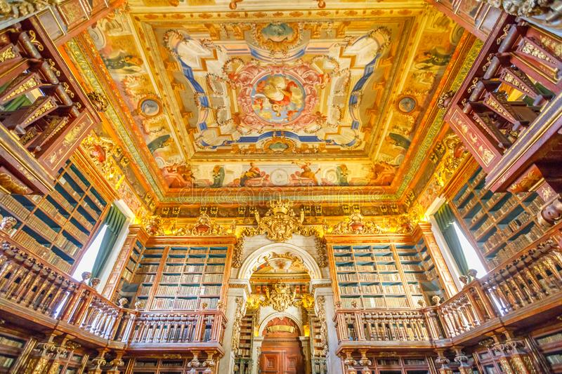 Coimbra baroque library. Coimbra, Portugal - August 14, 2017: University library in Coimbra, the Europe`s oldest university founded in 1290. Unesco World stock photos