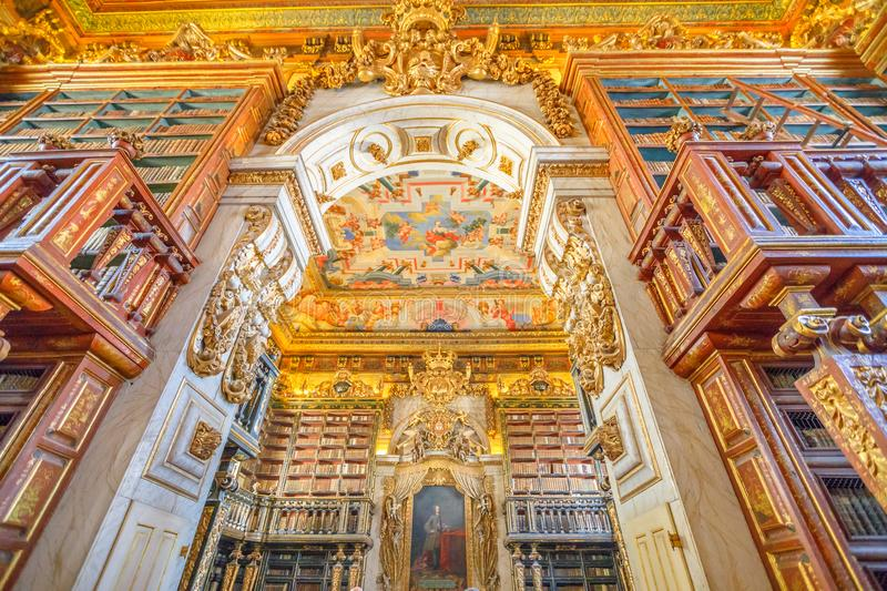 Library in Coimbra. Coimbra, Portugal - August 14, 2017: University library in Coimbra, the Europe`s oldest university founded in 1290. Unesco World Heritage stock images