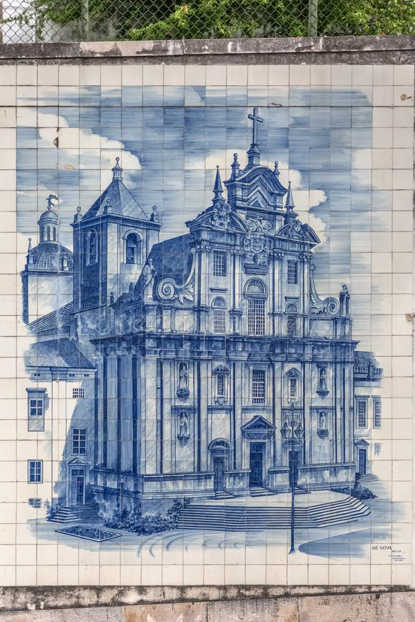 Traditional tile panel collection, painted with famous monuments, in the Coimbra city region, on exhibition in downtown Coimbra. Coimbra / Portugal - 04 04 2019 stock images