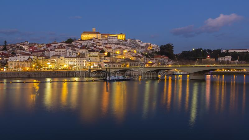 Coimbra city and Mondego river. Coimbra is a portuguese city with one of the oldest universities in the world stock images