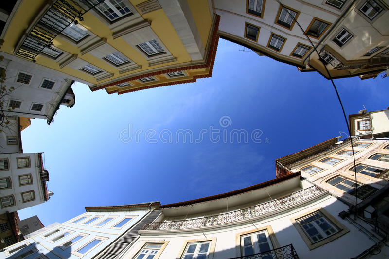 Coimbra street. Houses in Portugal royalty free stock image