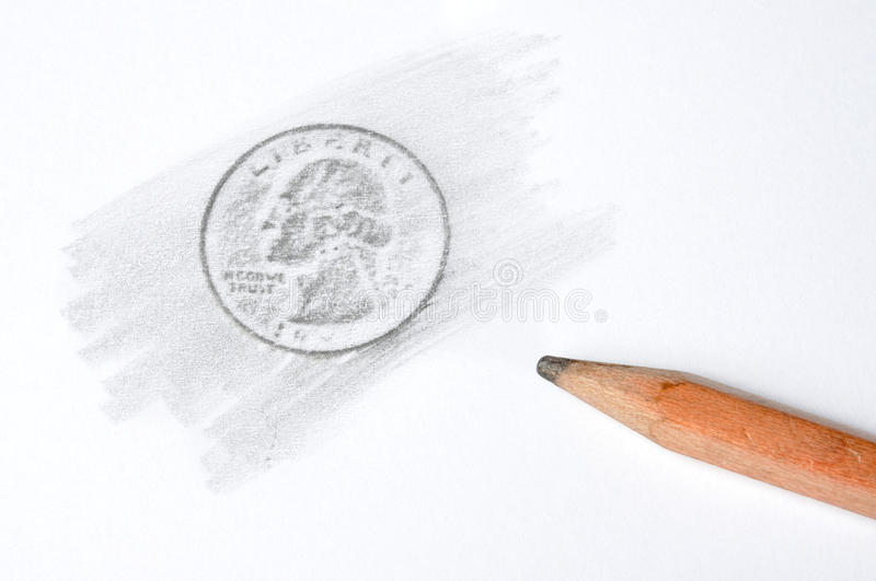 Coin. Pencil drawing quarter dollar coin on white paper stock images