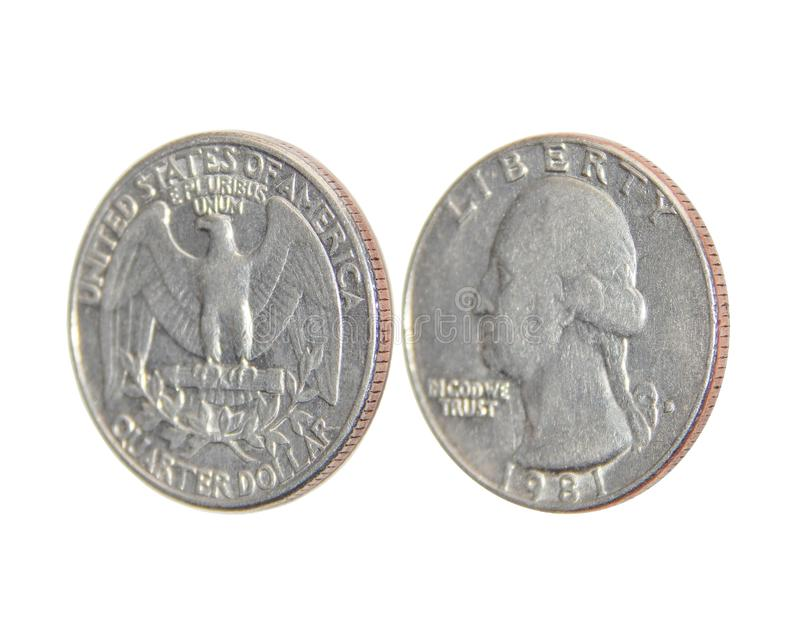 Coin of America Quarter dollars on isolated white background. The coin was minted from 1932 to the present day at the mints of Philadelphia, Denver and San royalty free stock photo