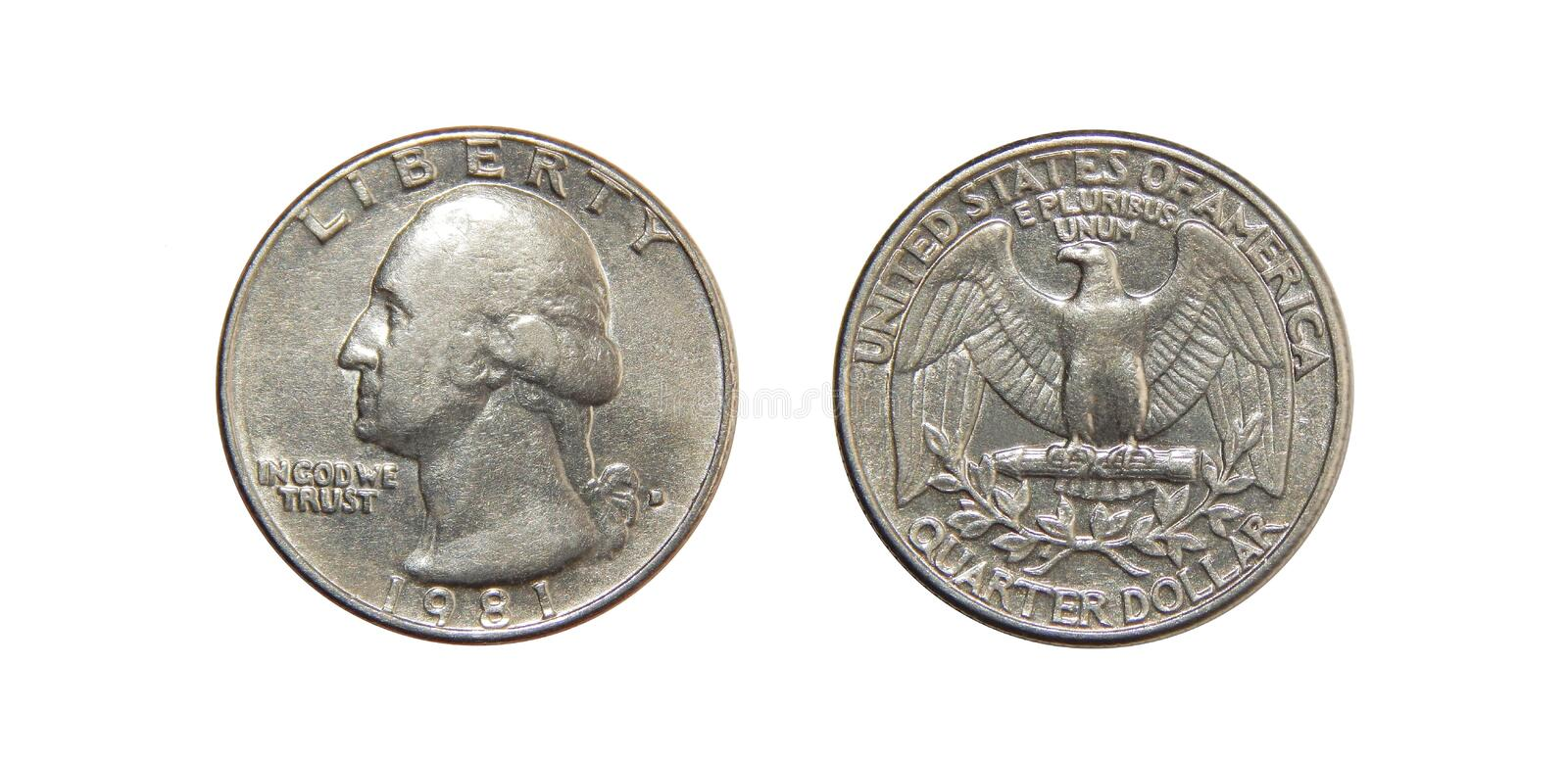 Coin of America Quarter dollars on isolated white background. The coin was minted from 1932 to the present day at the mints of Philadelphia, Denver and San stock images