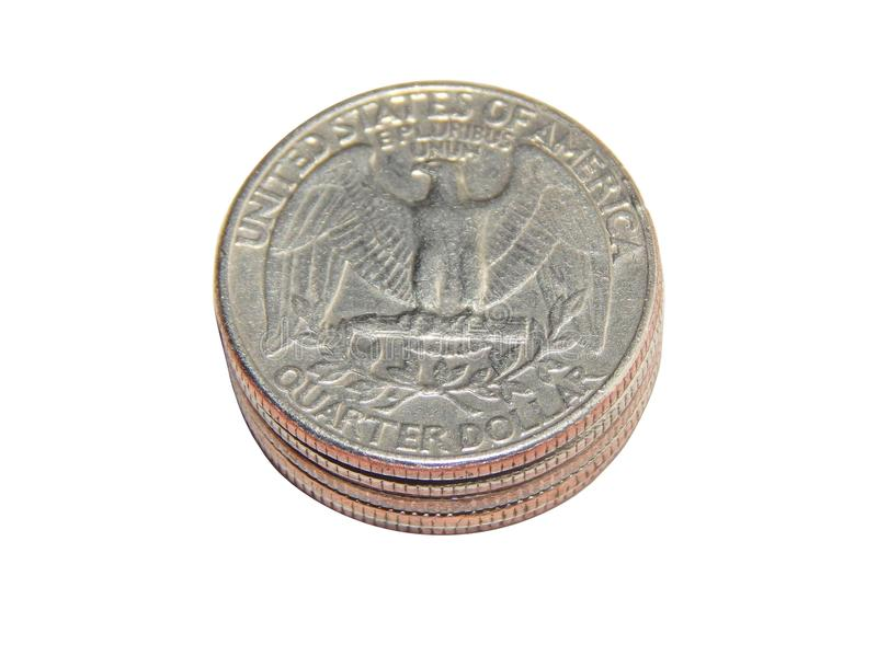 Coin of America Quarter dollars on isolated white background. The coin was minted from 1932 to the present day at the mints of Philadelphia, Denver and San royalty free stock image