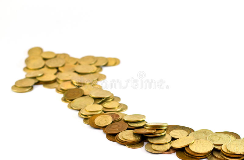 Coin arrow showing investment rise stock image