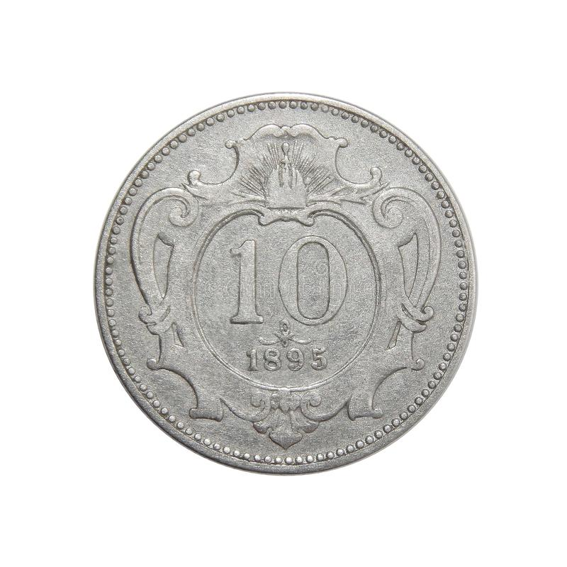Coin Austria 10 hellers 1895. Numismatics of coins of the world royalty free stock photo