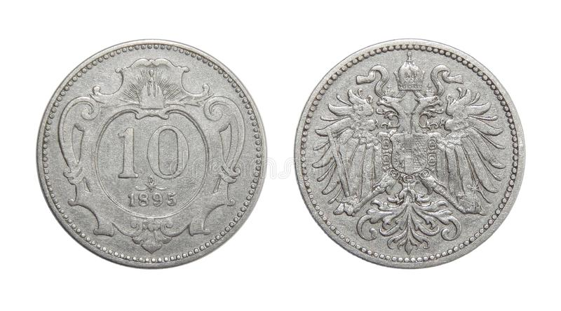 Coin Austria 10 hellers 1895. Numismatics of coins of the world stock photo