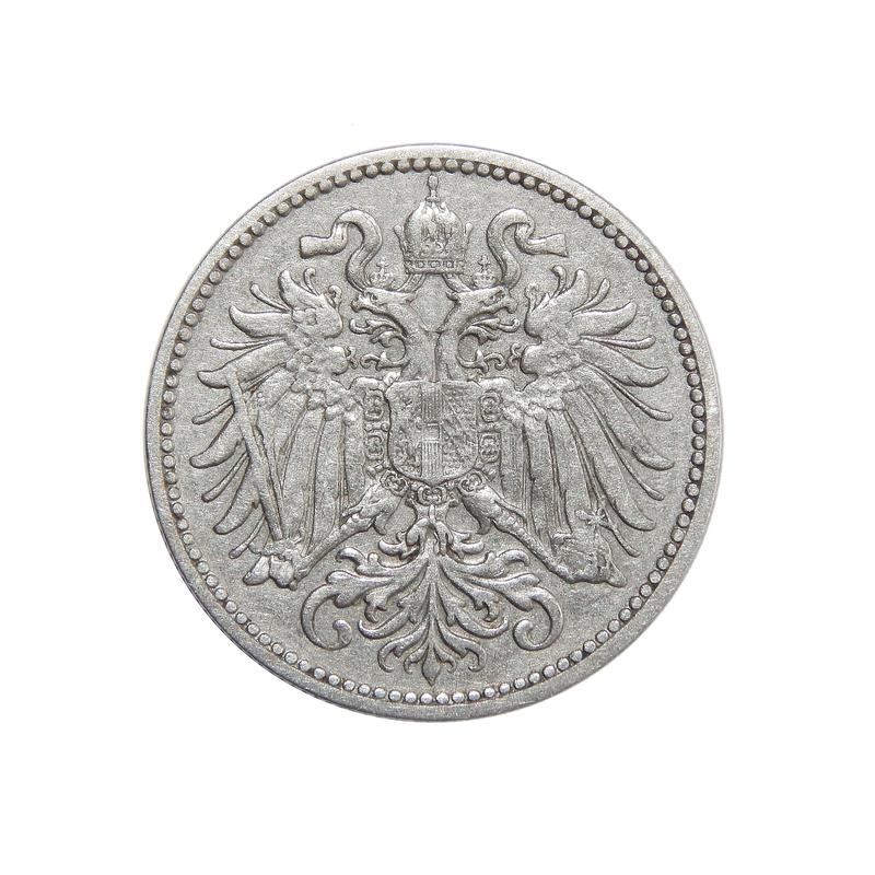 Coin Austria 10 hellers 1895. Numismatics of coins of the world royalty free stock photography